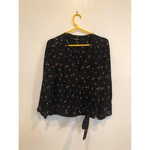 Black floral wrap top Madewell